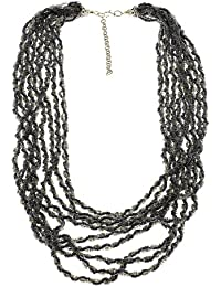 Black Bead Cluster Fashion Necklace Costume Jewelry Handmade Indian