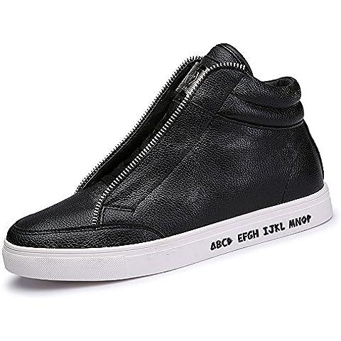 SITAILE Uomo High Top Scarpe da Ginnastica Basse Sportive Outdoor Stivaletti Sneakers stivali Nero bianco