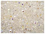 100pcs Tschechische Facettierten Glasperlen, Fire-Polished, Rund 4 mm Crystal AB