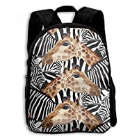 ADGBag Zebra and Giraffe Pattern Wilderness Student School Backpacks Canvas Book Bag Casual Daypack Travel for Children