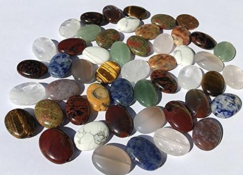 Lot de 48grandes perles semi-précieuses (Crystal King) - mix de pierres polies ovales de 18mm: aventurine verte, obsidienne acajou, obsidienne jaspe, sodalite, aventurine, jade, onyx, œil de tigre, agate, malachite turquoise, quartz, quartz rose, jaspe rouge etc -