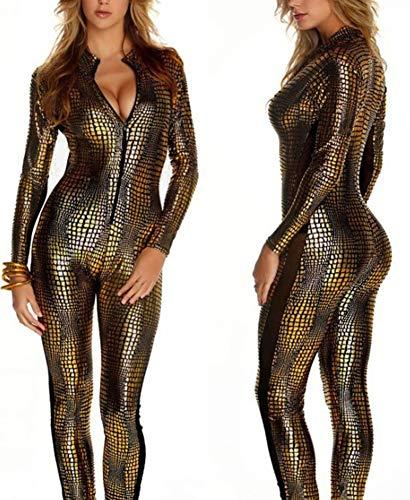 (Nachtclub DS Kleidung Weiblicher Pole Dance Hot Dance Einteilige Leder Schlange Haut Engen Reißverschluss Anzug Uniform,Gold,L)