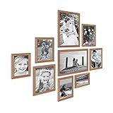 Photolini 9er Set Landhaus-Bilderrahmen Eiche-Optik Massivholz-Rahmen mit Glasscheibe und Zubehör/10x15 13x18 15x20 und 20x30 cm/Fotorahmen