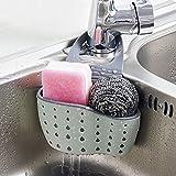 Rubinetto da cucina lavello da appendere, creativo stoccaggio appeso borsa, regolabile spugna di scarico, cestello multi-funzione pieghevole 15×5×8cm Dark Grey
