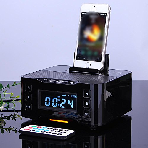 Iphone Dock Alarm Plus 6 (Mettime Clock Radio Dock Lautsprecher Bluetooth Alarm Ladestation FM Radio Dock Ladegerät und iPhone / iPad / Mini und Android-Handys , black , a9b)