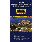 ADAC Länderkarte Kroatien, Bosnien und Herzegowina, Serbien, Montenegro 1:650.000