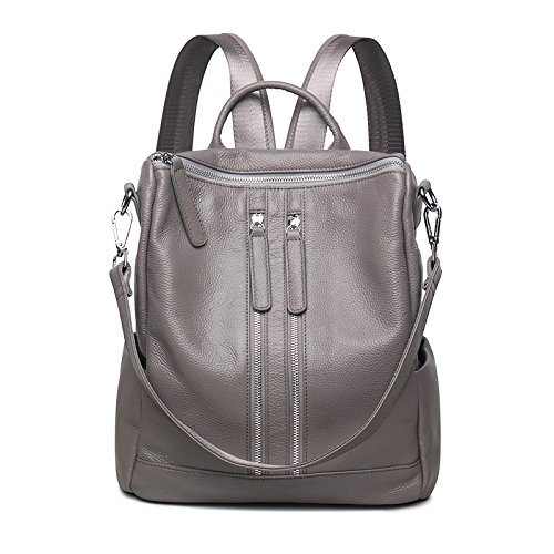Mefly Zaino in pelle Borsa da viaggio Lady Oxford in pelle nuova All-Match. blu Light grey