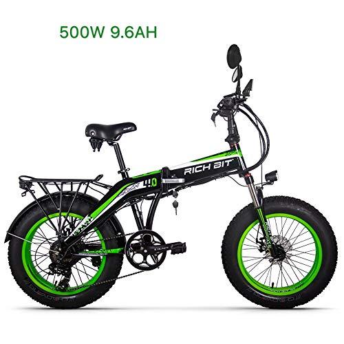 eBike_RICHBIT 016 Bici elettrica, 48V 500W 8AH Fat Tire Bike, Ebike Pieghevole per Ciclismo, con Portapacchi Posteriore/Catarifrangenti (Verde)