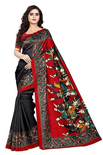 Jaanvi fashion Women's Art Silk Kalamkari Printed Saree Free Size (Black, warli-prints-black)