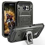 Galaxy S7 Hülle, BEZ™ [Heavy Duty Serie] Outdoor Dual Layer Armor Case [Stoßfestes Etui] [Dunkelgrau] Handy Schutzhülle [Shockproof] robuste Hülle für Samsung Galaxy S7