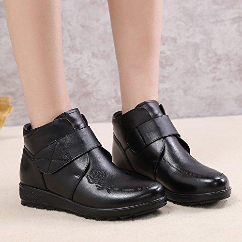 Khskx-la Mamma Chaussures Chaudes En Hiver Et Cachemire En Cuir Chez Les Personnes Agées Avec Semelles Douces Antidérapantes Bottes Elégantes40 Noir 37 Noir