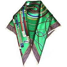 f23b2f9c5cd Silk Run -Foulard carré en 100% soie (55cmx55cm) - motif  fouet