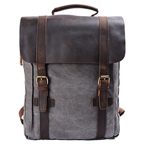 15.6 pouces Vintage Sac à dos en toile de sport en cuir Casual sac d'école de voyage Satchel randonnée sac à dos sac à dos avec double fermeture à gli...