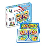 HenMerry Creative Mushroom Nails Pegboard Children\'s Educational Jigsaw Toys Puzzle Game Building Block Toys 600PCS