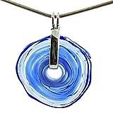 Kette in Blau mit Schmuckanhänger aus Murano-Glas | Glas-Wechsel-Schmuck | Unikat handmade | Personalisiertes Geschenk für sie zu Valentinstag Jahrestag Hochzeit Geburtstag Weihnachten Mama Dame