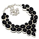 """Ethnic Collection! Handmade Jewellry! Black Onyx Silver Plated 100 Grams Necklace 17-18"""""""