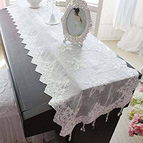 Bel Sogno tabella bandiera di moda stile Coreano tovaglia di pizzo bianco pendente di cristallo decorazione contemporanea semplice , 42 * 180 Decorazioni di Natale Halloween-YU&XIN