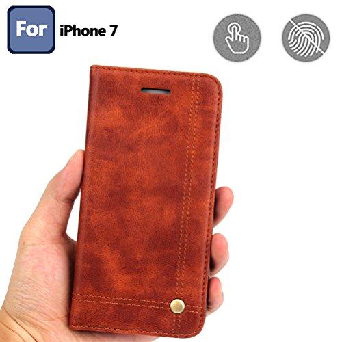 Coque iPhone 7, Coque iPhone 8, Housse étui Cuir Portefeuille avec Horizontale Rangements de Cartes et Fermeture Aimanté, pour Apple iPhone 7 2016 / 8 2017 - Red Marron Clair