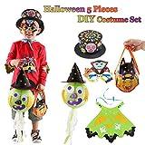 PROACC 5 Set Disfraces de Halloween para niños (Sombrero de Papel Decorado + Gafas de Vampiro + Totes de Caramelo de Calabaza + Capa de Cabo de Demonio + Lámpara de Linterna de Papel)