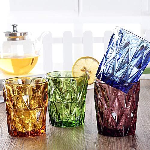 Tumblers Farbige Trinken Brille, Longdrinkgläser Set Dauerhaft Eco-Friendly & bpa-frei Trinkgläser Für Wasser Getränke Cocktails 4er-Set-A 210ml(7.4 oz) -