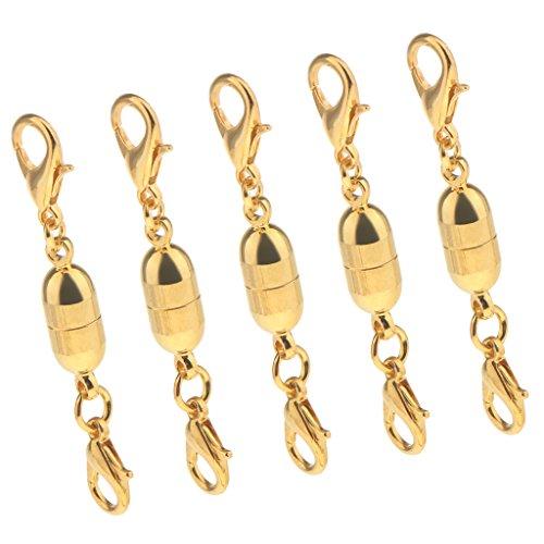 Dolity 5 Stücke Magnetische Karabiner für Halsketten, Armbänder, Ohrringe - 45mm - Gold