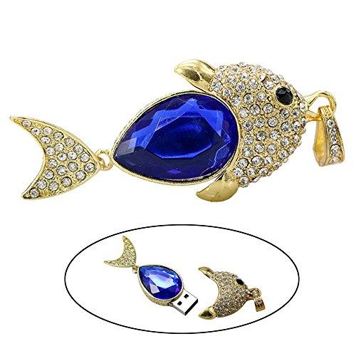 Civetman Blue Crystal Halskette Fisch Modell Pendrive 64GB USB Stick U Disk