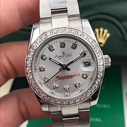 WDXDP Uhr Neue Edelstahl-Saphir-Uhr-Frauen-Dame Automatic Mechanical Diamond Lünette Silber Rose Gold Green Shell Date 31MmWhite Diamond