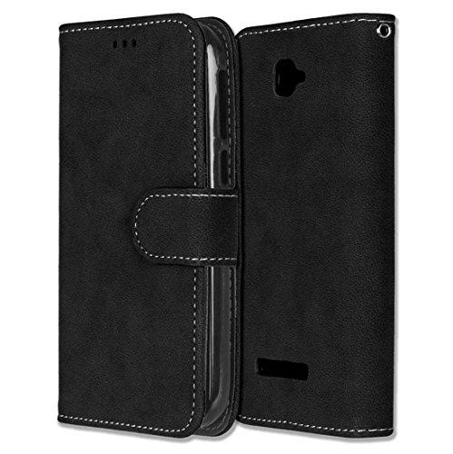 Alcatel One Touch Pop C7 Hülle, Chreey Matt Leder Tasche Retro Handyhülle Magnet Flip Case mit Kartenfach Geldbörse Schutzhülle Etui [Schwarz]