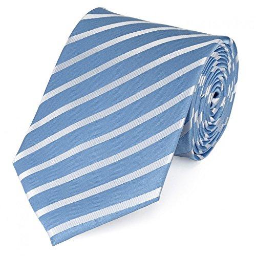 Fabio Farini Schlips Krawatte Krawatten Binder 8cm hellblau weiß gestreift