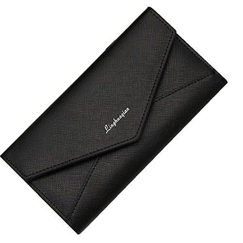 Reasoncool 2017 Donna di moda le ragazze del raccoglitore del supporto della carta moneta della frizione della borsa borsa lunga (Blu) Nero