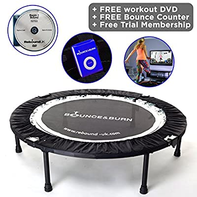 Maximus Life Bounce & Burn Folding Indoor Mini Trampoline Rebounder for Adults. Fun Way to Lose Weight and get FIT! Includes Rebounding Workout DVD, Video Membership. Optional Handle Bar. from Maximus Life ltd
