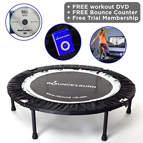 MaXimus Indoor Fitness-Trampolin Bounce & Burn. Indoor Trampolin für Jumping Fitness. Rebounder trampoline Inklusive DVD. mini-trampolin fitness indoor.