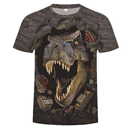 REALIKE T-Shirt Herren Mode 3D Dinosaurier Druck Tankshirt Muster mit Rundhalsausschnitt Unterhemden Männer Oberteile Muskelshirt Fitness Sport Bequem Atmungsaktiv Basic für bis Größe M-3XL -