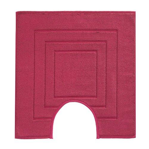 Vossen 1100530377 Feeling - Toilettenvorleger mit Ausschnitt, 59 x 59 cm, cranberry - Cranberry Farbe Teppich