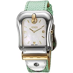 Fendi Women's Green Leather Band Steel Case Swiss Quartz MOP Dial Analog Watch F382114581D1