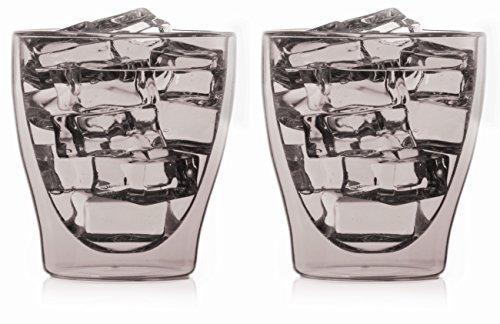 bedida 2X 200ml graue doppelwandige Tee- und Kaffee-Gläser mit Schwebe-Effekt, auch für Whiskey,Wasser,Säfte,Cola,EIS by Feelino