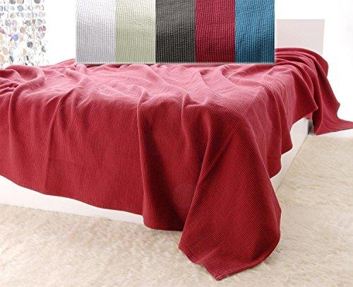 Baumwolldecken Wohnen & Accessoires Edle Tagesdecke, Bettüberwurf Annabelle mit Streifenmuster in Bordeauxrot 260x260cm