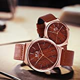Elegante einzigartige Holz Uhren für Paare mit Roségold -Ton Edelstahl Analog Quarz braun Echtlederband wasserdicht Holz Uhr für sie und ihn - 2ER-SET