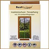 Insektenschutz - Türvorhang mit 18 starken Magneten Mückennetz Fliegennetz Türen