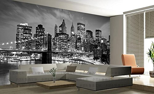 WH-PORP New York City Night Scenery 3D Photo Mural tapete Landscape Black&White Living Room Background-400cmX280cm