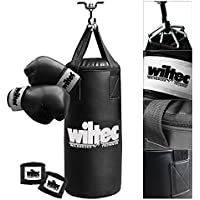 Wiltec Box Set Boxsack gefüllt 10kg 56cm Halterung Boxhandschuhe Sandsack Handschuhe
