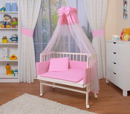 WALDIN Baby Beistellbett komplett mit Ausstattung, höhen-verstellbar, Buche Massiv-Holz weiß lackiert, 14 Modelle wählbar,rosa/weiß