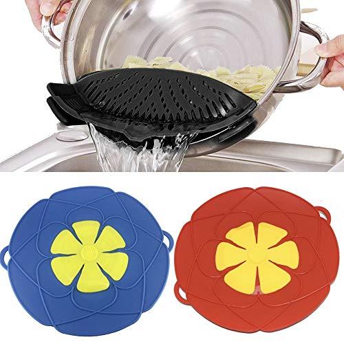 Mehrzweck-Küchenwerkzeuge, lebensmittelechtes Silikon, 3-teilig, faltbar, Überkochschutz, Dämpferdeckel Gourmet Cooking-gadgets