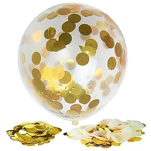 Kuuqa 12 Pièces Confetti d'or Ballons Clairs Pleins 12 Pouces pour les Décorations de Fête D'anniversaire de Mariage