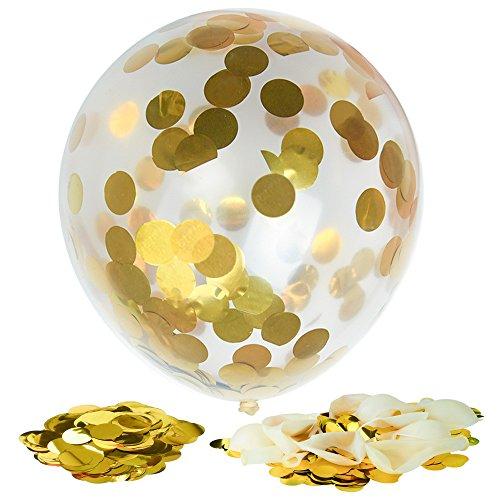 Kuuqa 12 Pièces Confetti d'or Ballons Clairs Pleins 12 Pouces pour les Décorations de Fête D'anniversaire de Mariage 0611553797608