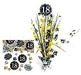 Feste Feiern Geburtstagsdeko Zum 18 Geburtstag | 2 Teile All in One Set Konfetti Tischkaskade Gold Schwarz Silber Party Deko Happy Birthday