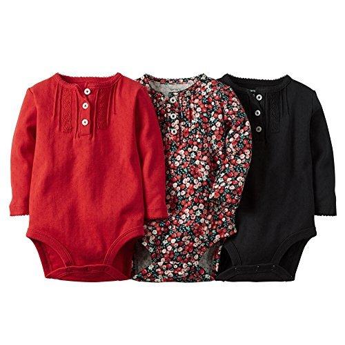 Carters Baby Kleidung Outfit Mädchen 3er Pack langen Ärmeln Bodys Blumenmuster Pintuck, mehrfarbig (Carters-bodys Mädchen)