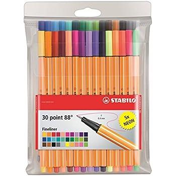 STABILO point 88 - Pochette de 30 stylos-feutres pointe fine - dont 5 couleurs fluo