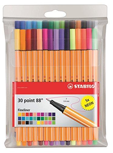 Preisvergleich Produktbild Fineliner - STABILO point 88 - 30er Pack - mit 30 verschiedenen Farben inklusive 5 Neonfarben
