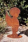 Dekostüberl Edelrost Engelsbub Jacob auf Platte 20 cm, inkl. Herzle 8x6cm Engel Junge Heiligenschein Kinderfigur